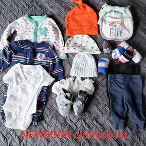 Newborn clothing lot sleeper hats pants socks